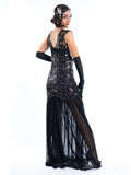 A long black flapper dress with black sequins and silver beads