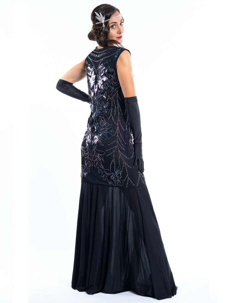 Long Black Gatsby Dress with sequins and beads