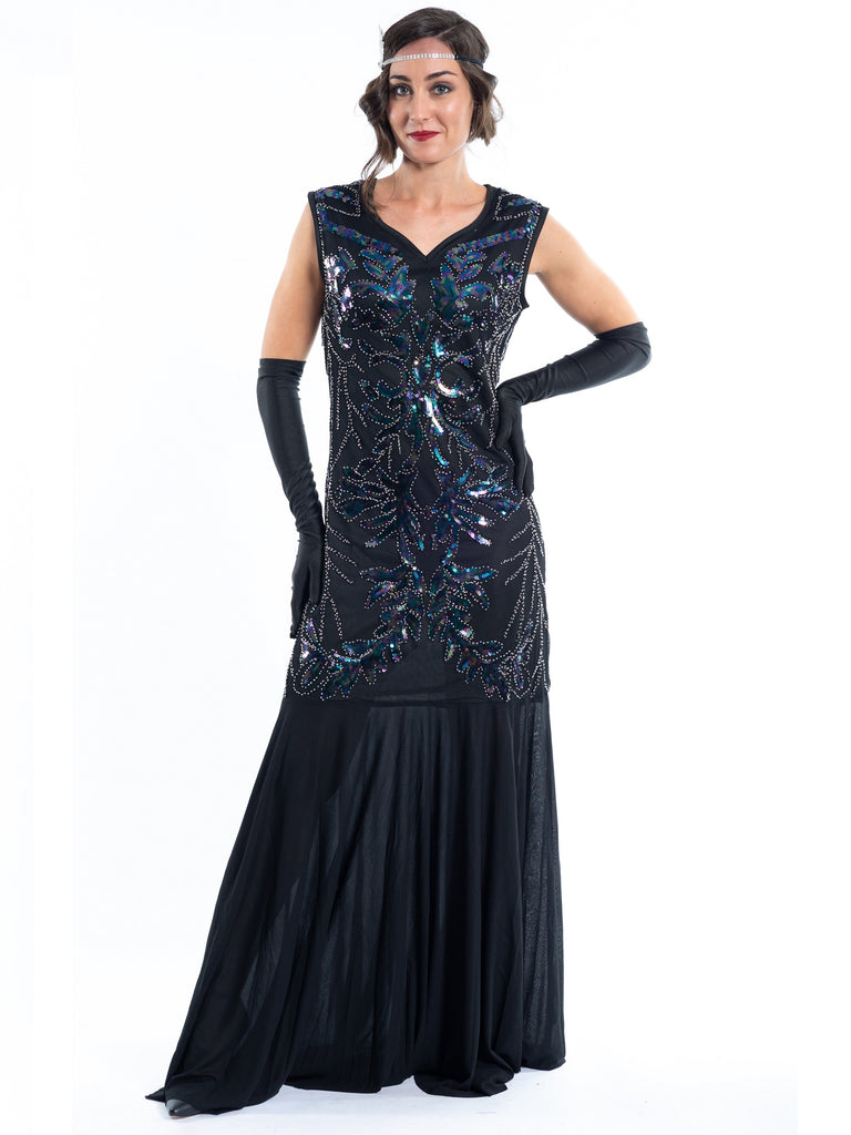 Long Black Great Gatsby Dress with sequins and beads