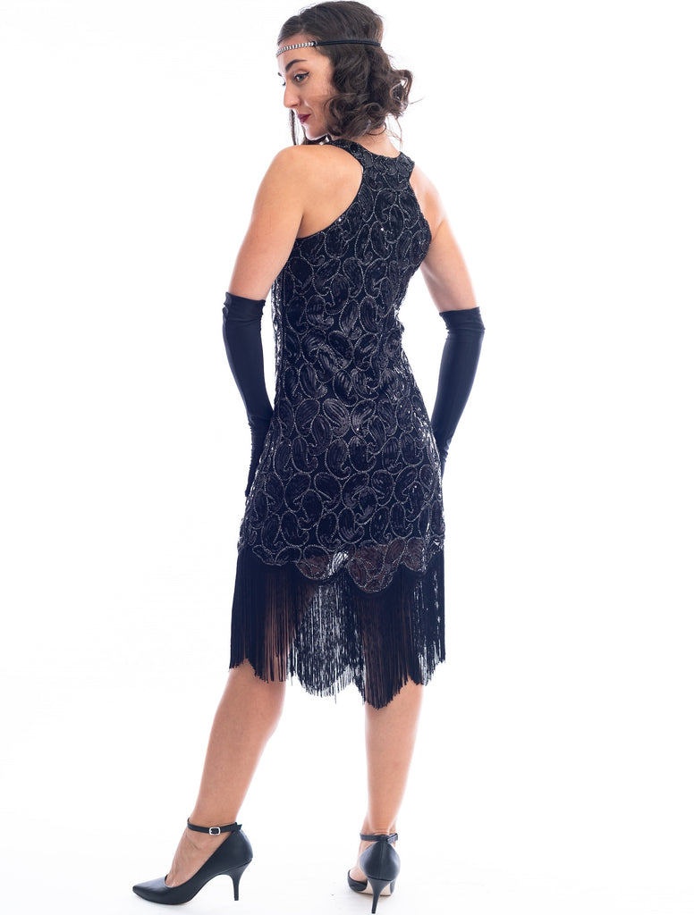 1920s Black Sequin Sofia Flapper Dress with sequins and fringes