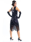 A black gatsby dress with a pattern of holographic black sequins