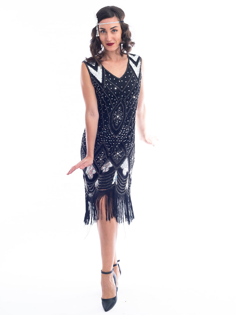 A black and silver sleeveless 1920's Flapper Dress with sequins and beads