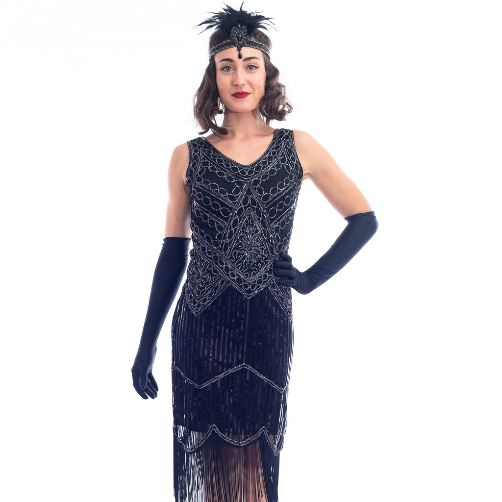 1920s Black & Silver Isabella Flapper Dress