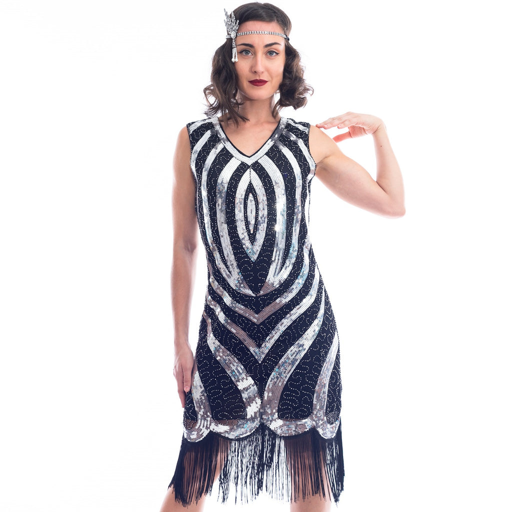 A black and silver 1920s Flapper Dress with sequins and beads