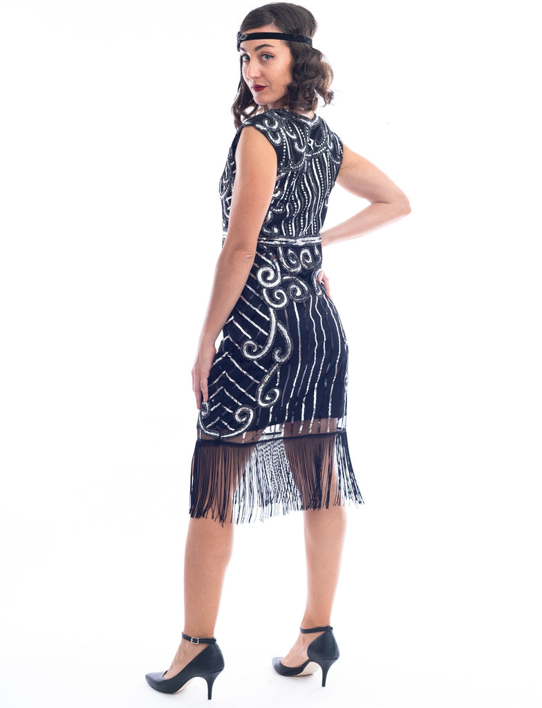 1920s Black & Silver Clara Flapper Dress with sequins and fringes