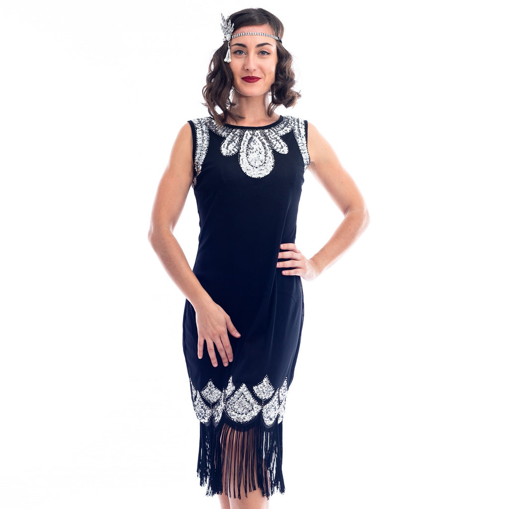 1920s Black & Silver Sequin Emilia Flapper Dress