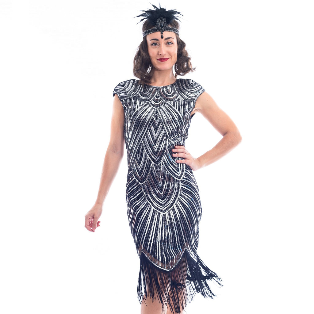 1920s Black & Silver Sequin Mable Flapper Dress