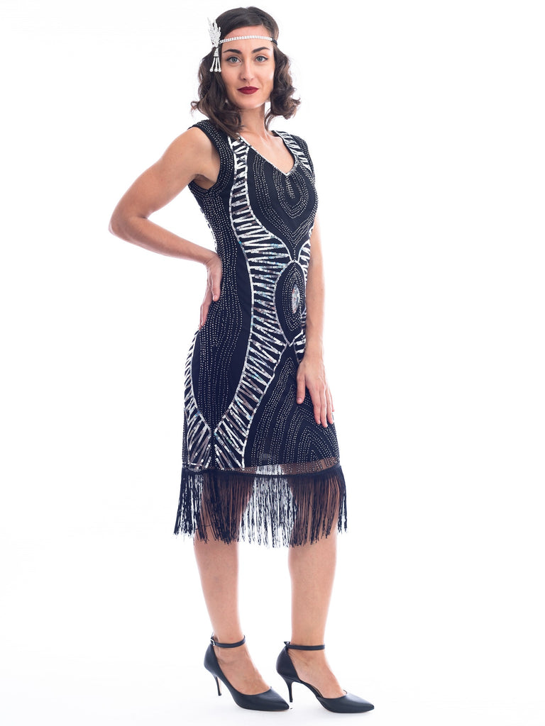 1920s Black & Silver Sequin Valerie Gatsby Dress