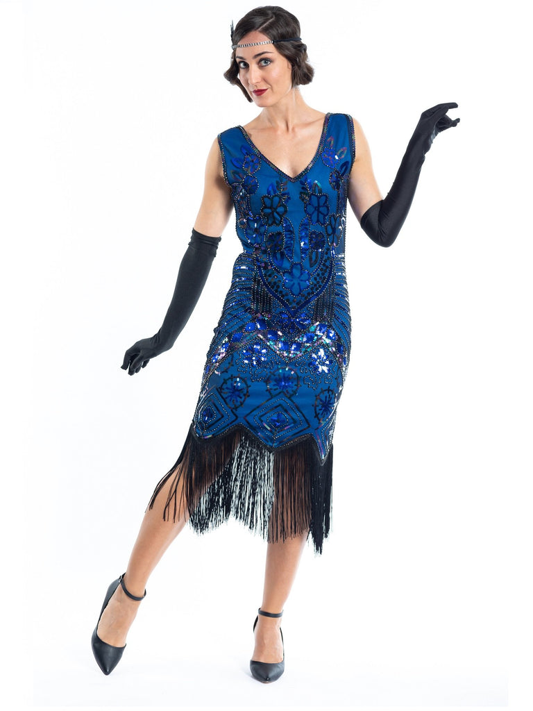 A Blue Gatsby Dress with black sequins and beads.