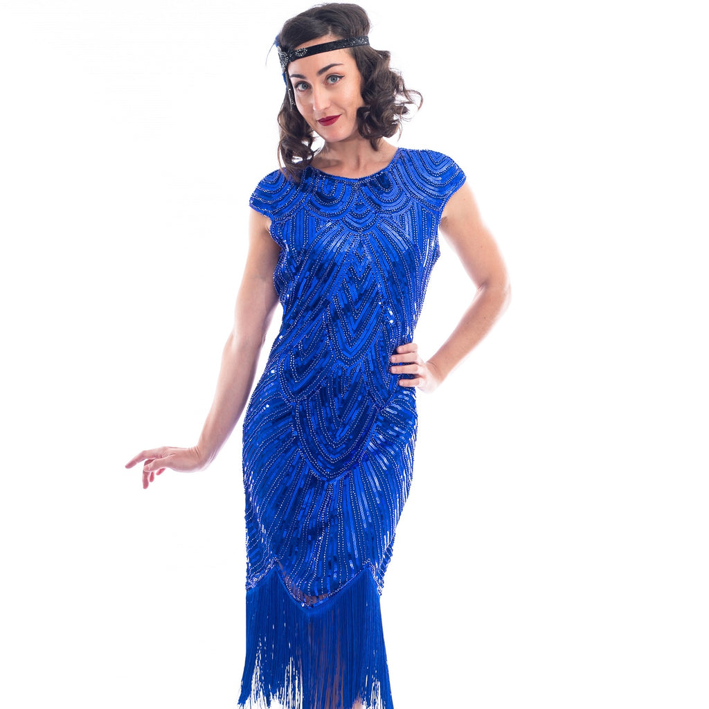 1920s Blue & Black Beaded Evelyn Flapper Dress
