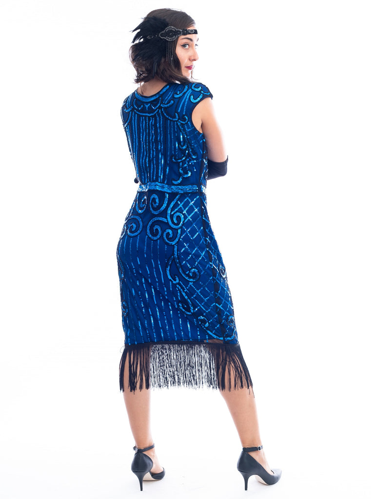 A back view 1920s Blue Flapper Dress with blue sequins, black beads and fringes around hem