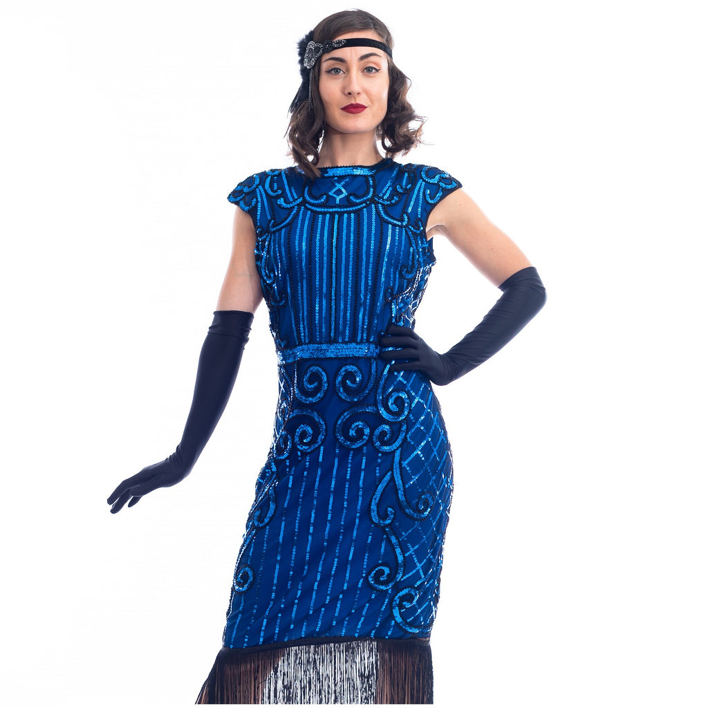 A close view 1920s Blue Flapper Dress with blue sequins, black beads and fringes around hem