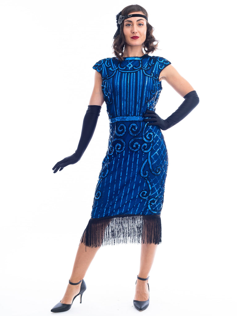 A 1920s Blue Flapper Dress with blue sequins, black beads and fringes around hem