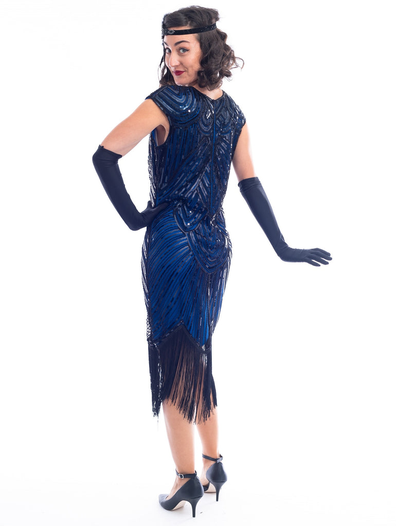 1920s Blue & Black Beaded Mable Flapper Dress