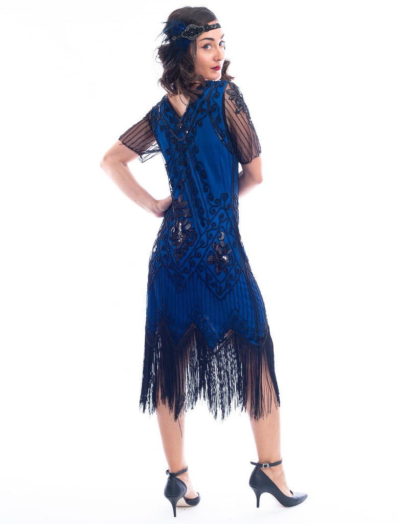 1920s Plus Size Blue Gatsby Dress Back View