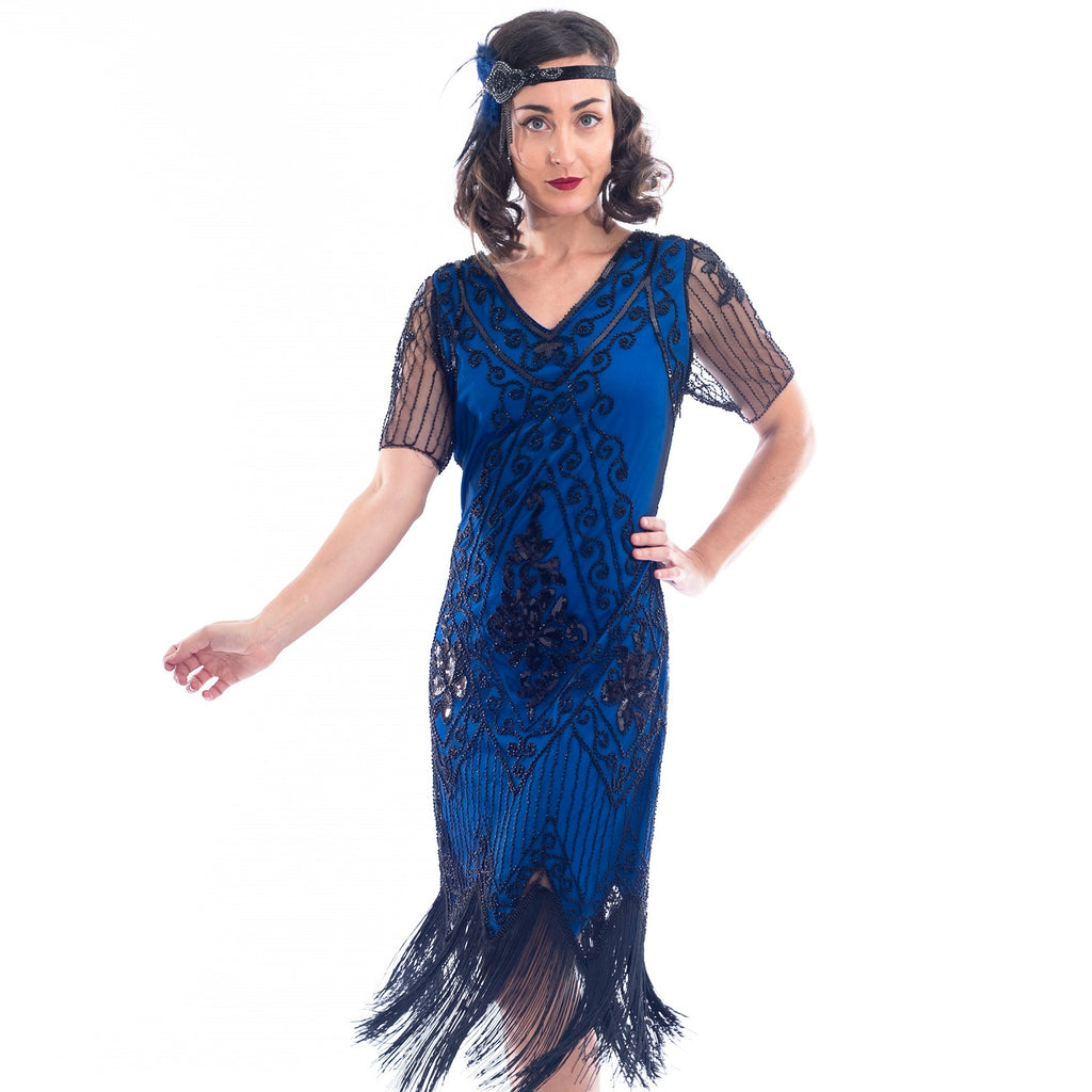 1920s Plus Size Blue Gatsby Dress Close View