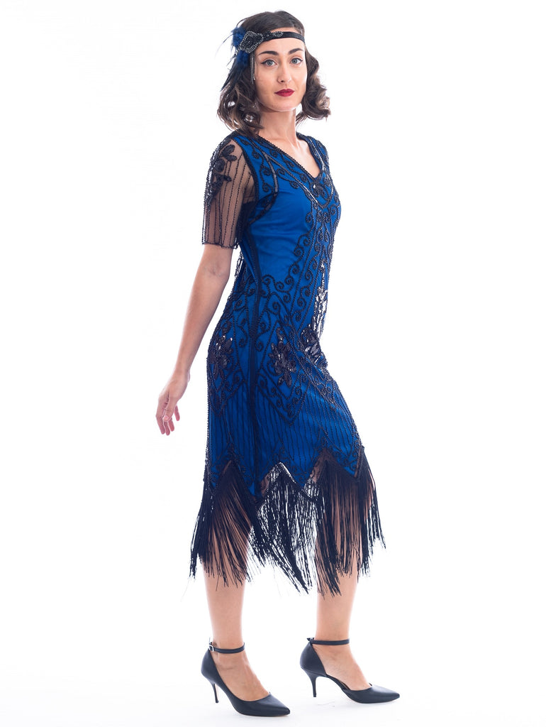 1920s Plus Size Blue Gatsby Dress Side View