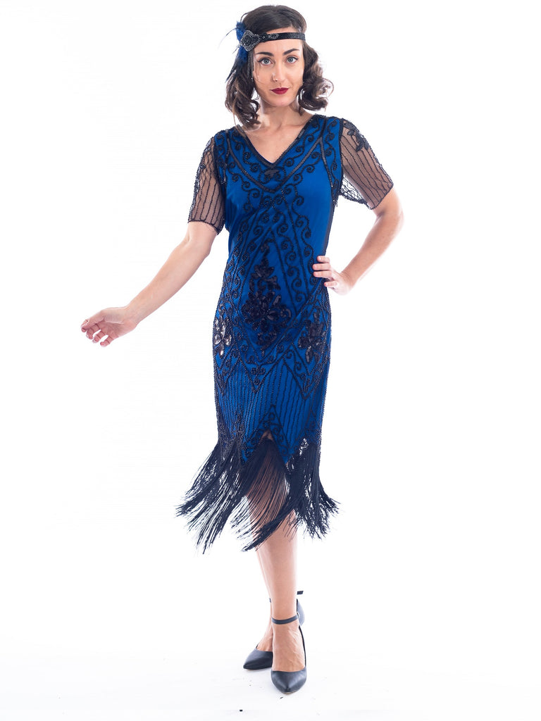 1920s Plus Size Blue Gatsby Dress