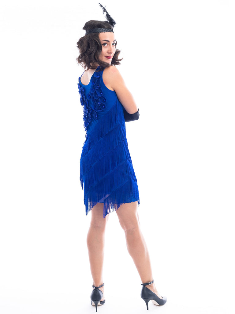 1920s Blue Fringe Lillian Flapper Dress
