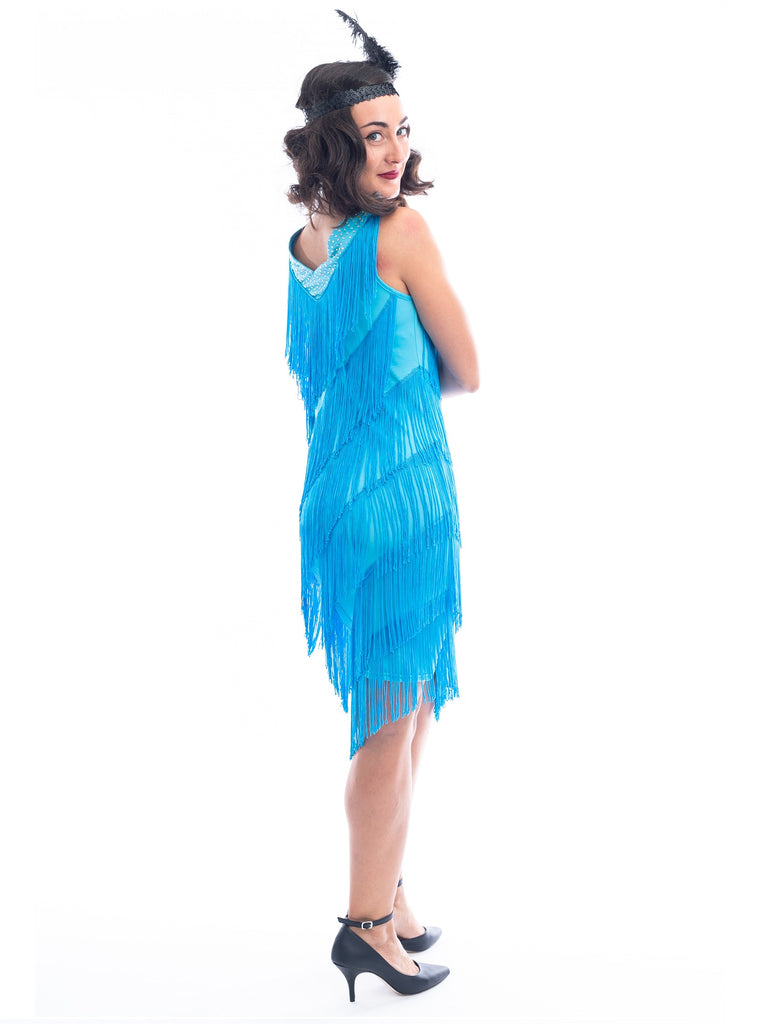 1920s Blue Fringe Rita Flapper Dress