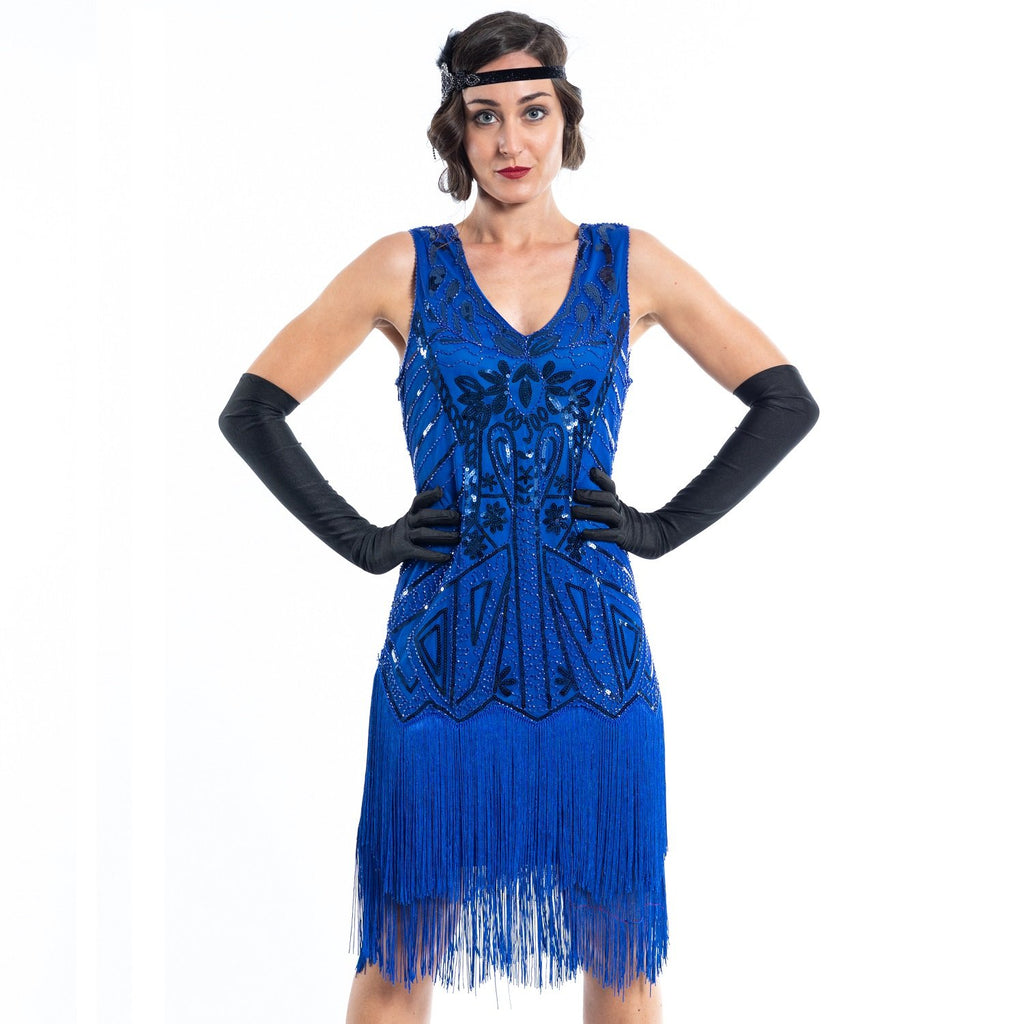 A blue flapper dress with sequins, beads and fringes around the hem - Close View
