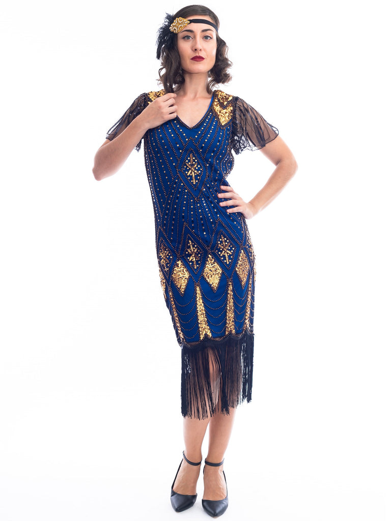 1920s Blue & Gold Beaded Louise Gatsby Dress