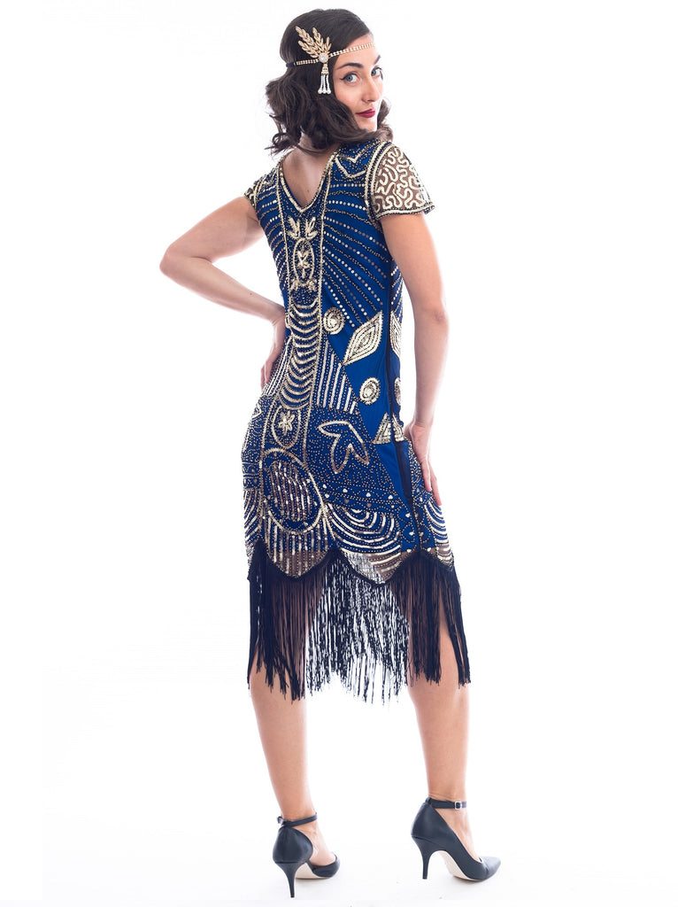 A back view 1920s Blue Gatsby Dress with gold sequins, gold beads and fringes around hem