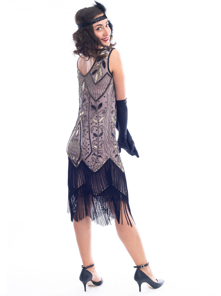 1920s Cashmere & Gold Beaded Grace Flapper Dress