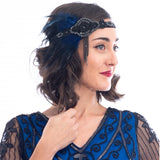 1920s Deco & Blue Feather Flapper Headpiece