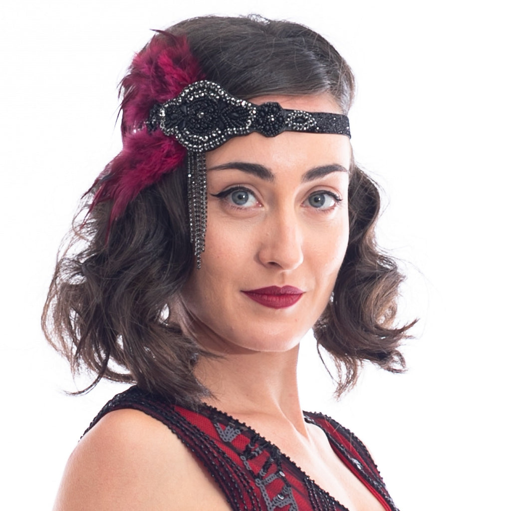 1920s Deco & Red Feather Flapper Headpiece