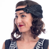 1920s Floral & Black Sequin Flapper Headband