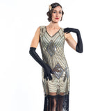A Gold Flapper Dress with sequins and beads