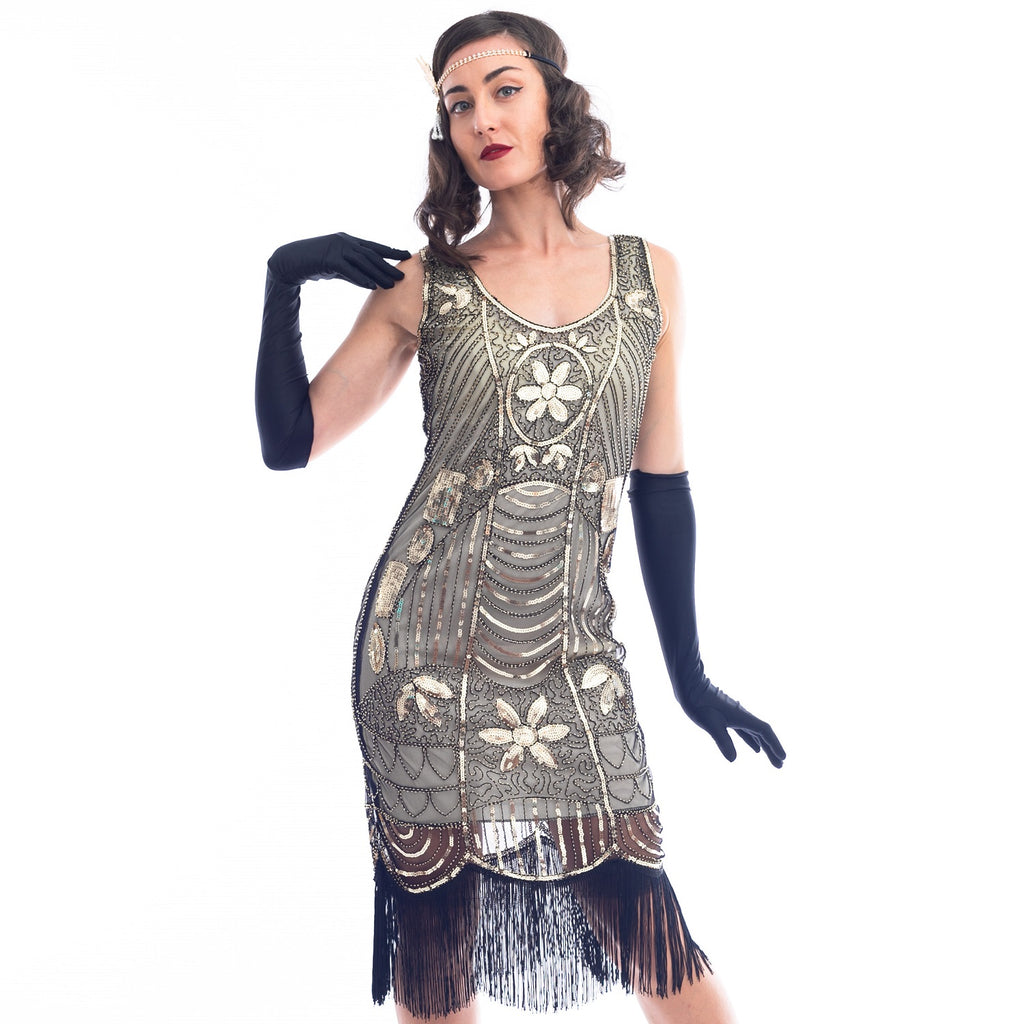 1920s Gold Beaded Mia Gatsby Dress with black fringes around hem