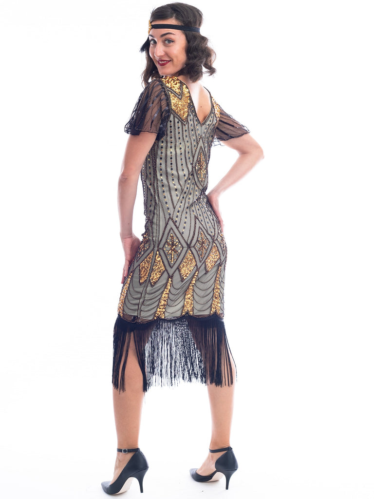 1920s Gold Plus Size Flapper Dress Back Side View