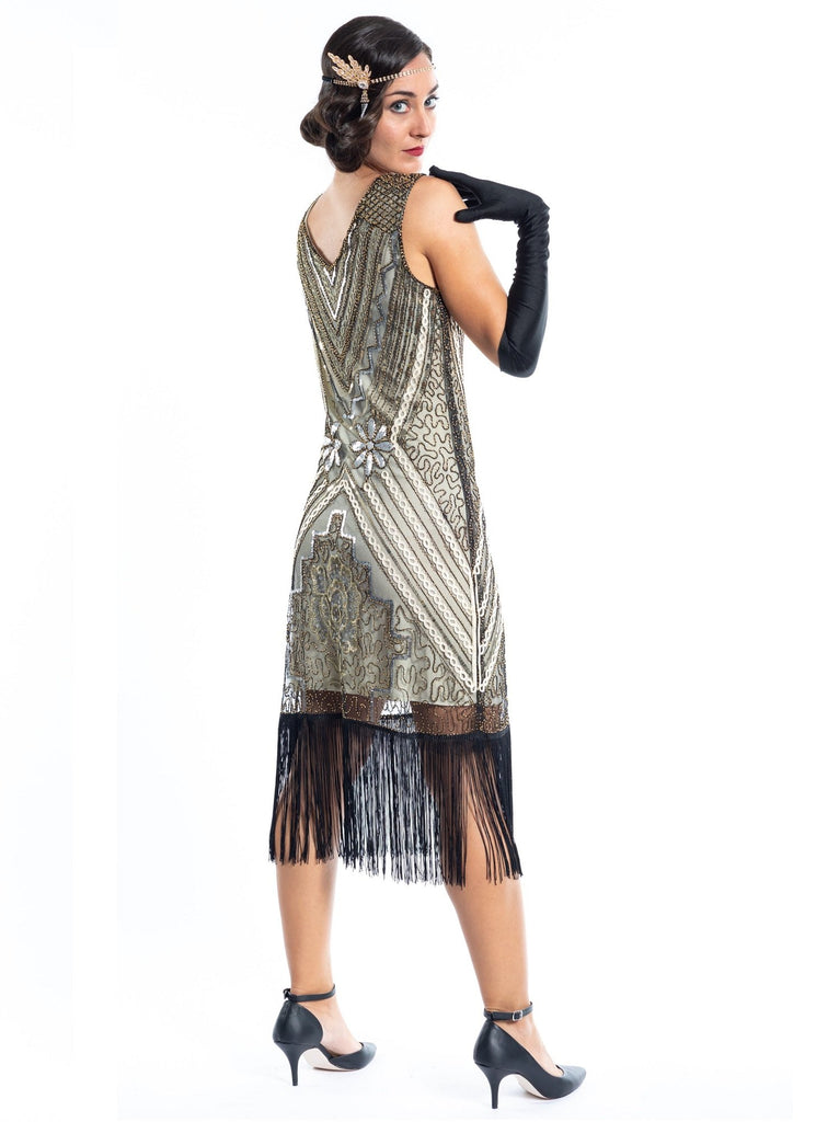 1920s Gold Vintage Gatsby Dress with silver & gold sequins, gold beads and black fringes around the hem - Back View