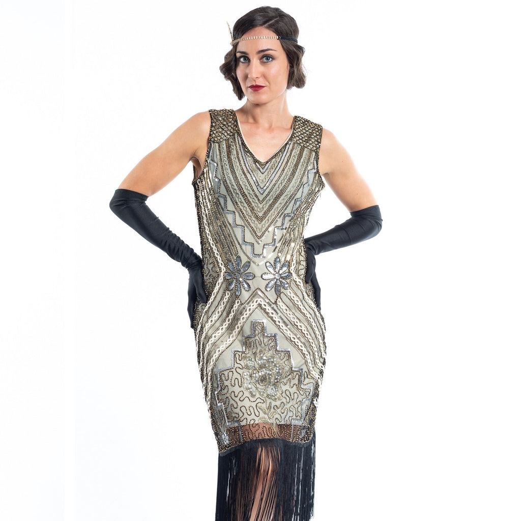 1920s Gold Vintage Gatsby Dress with silver & gold sequins, gold beads and black fringes around the hem - Close View