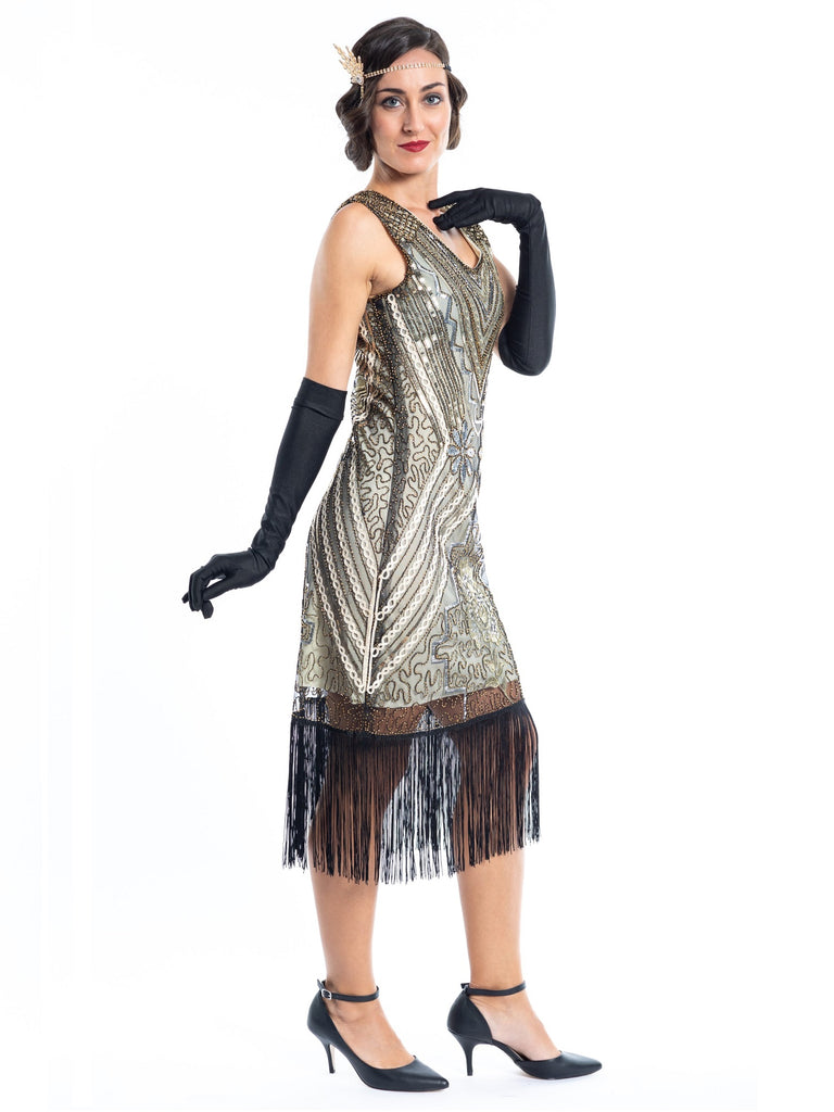 1920s Gold Vintage Gatsby Dress with silver & gold sequins, gold beads and black fringes around the hem - Side View