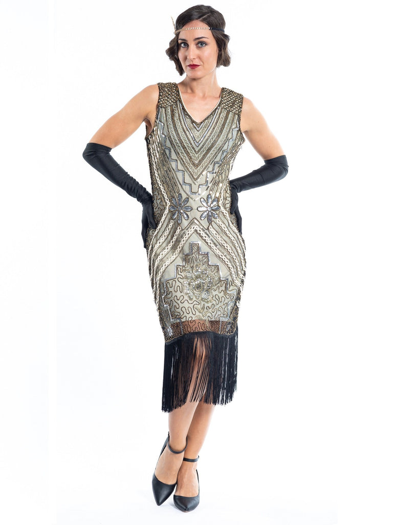 1920s Gold Vintage Gatsby Dress with silver & gold sequins, gold beads and black fringes around the hem