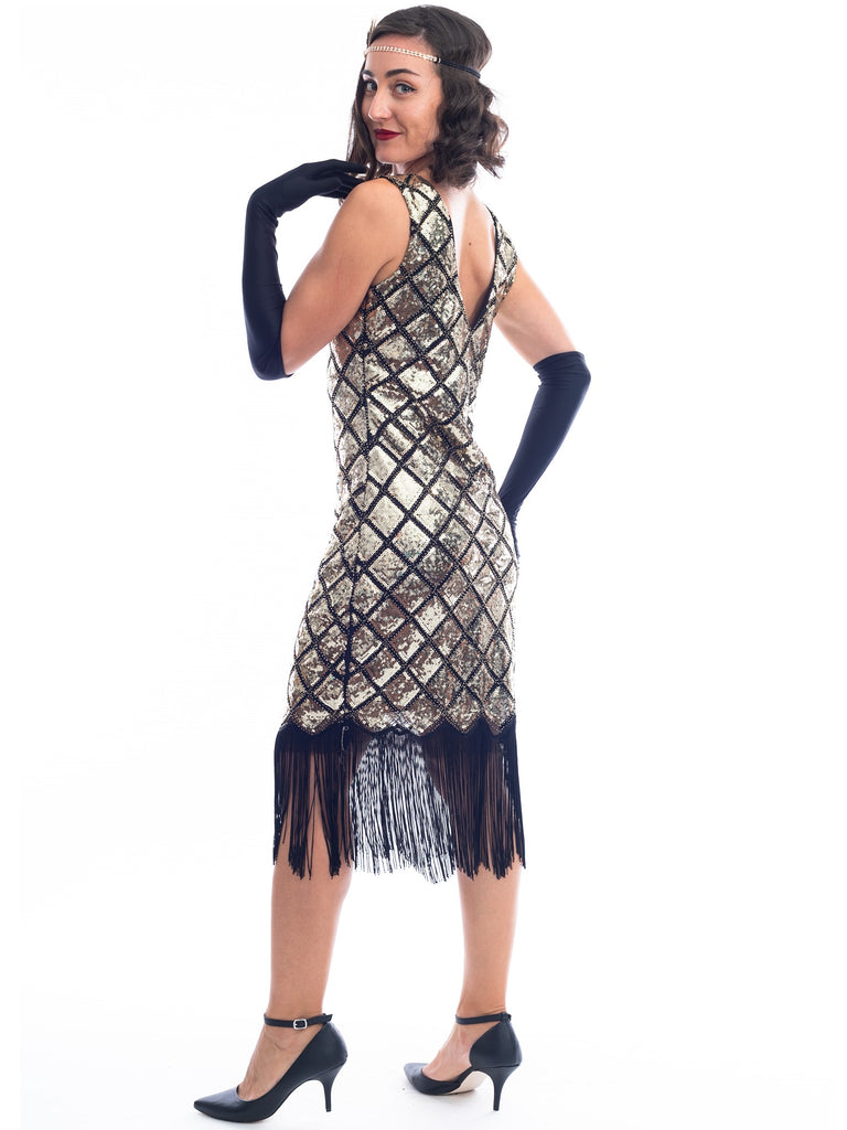 1920s Gold Sequin Aaliyah Gatsby Dress