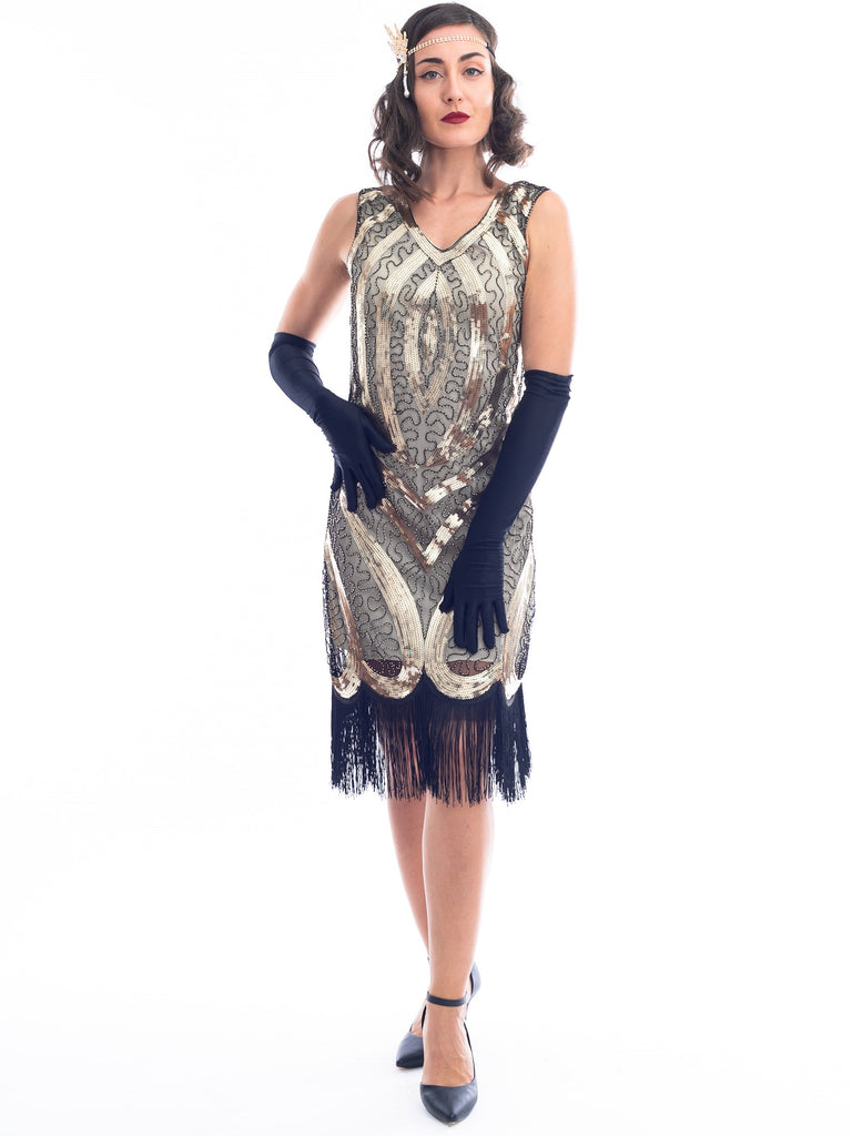 1920s Gold April Gatsby Dress With Sequins and Beads