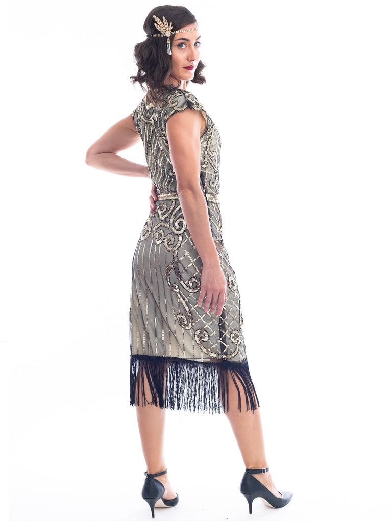 1920s Gold Sequin Clara Flapper Dress