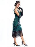 A Green Gatsby Dress with black sequins and beads