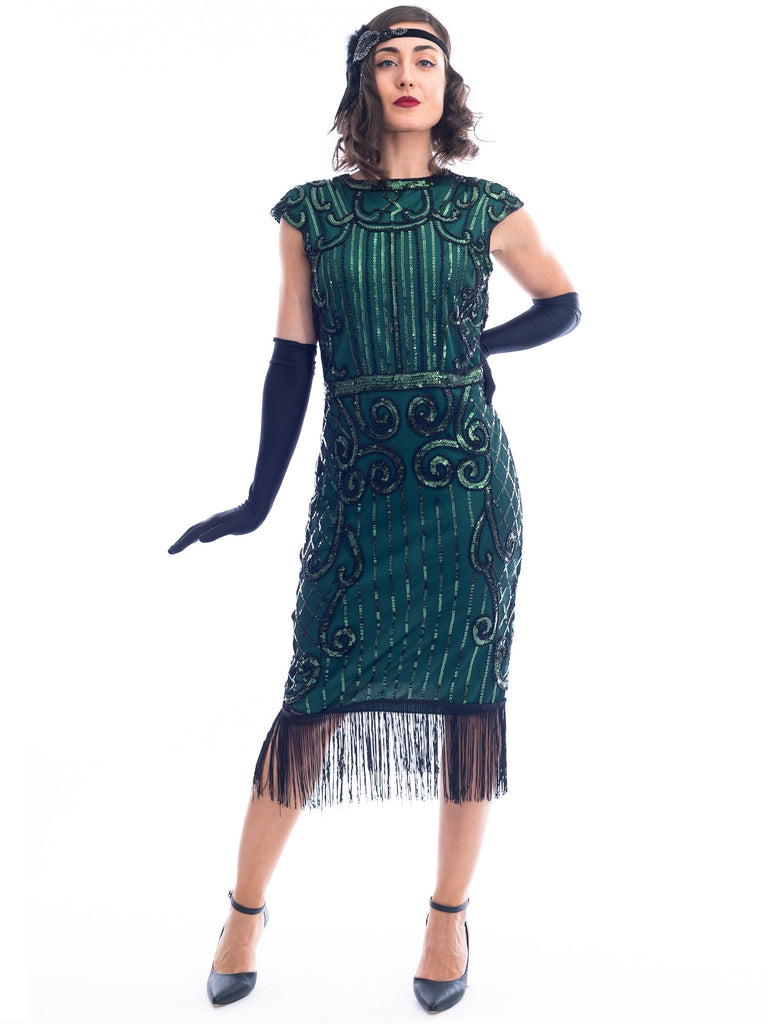 1920s Green Flapper Dress