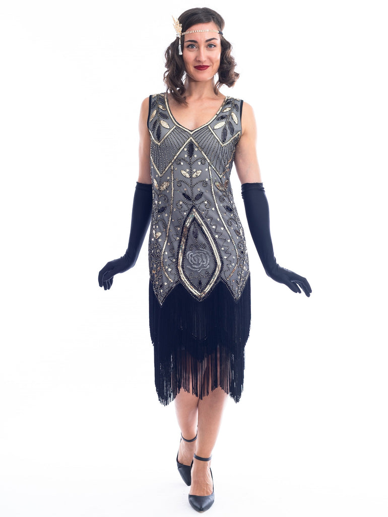 1920s Grey & Gold Beaded Grace Flapper Dress