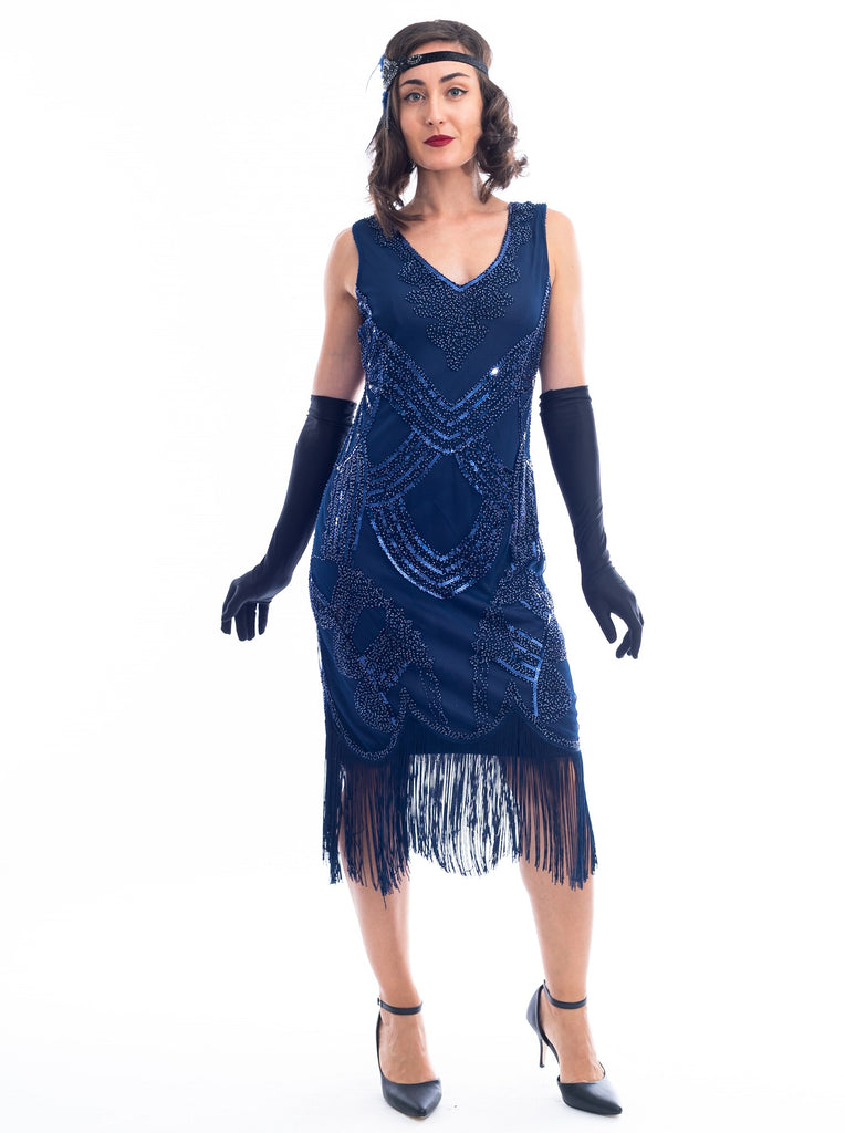 1920s Navy Blue Beaded Marie Gatsby Dress