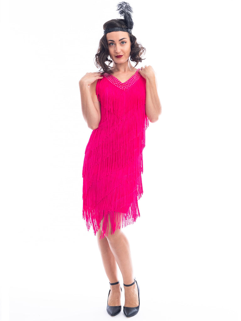 1920s Pink Fringe Rita Flapper Dress