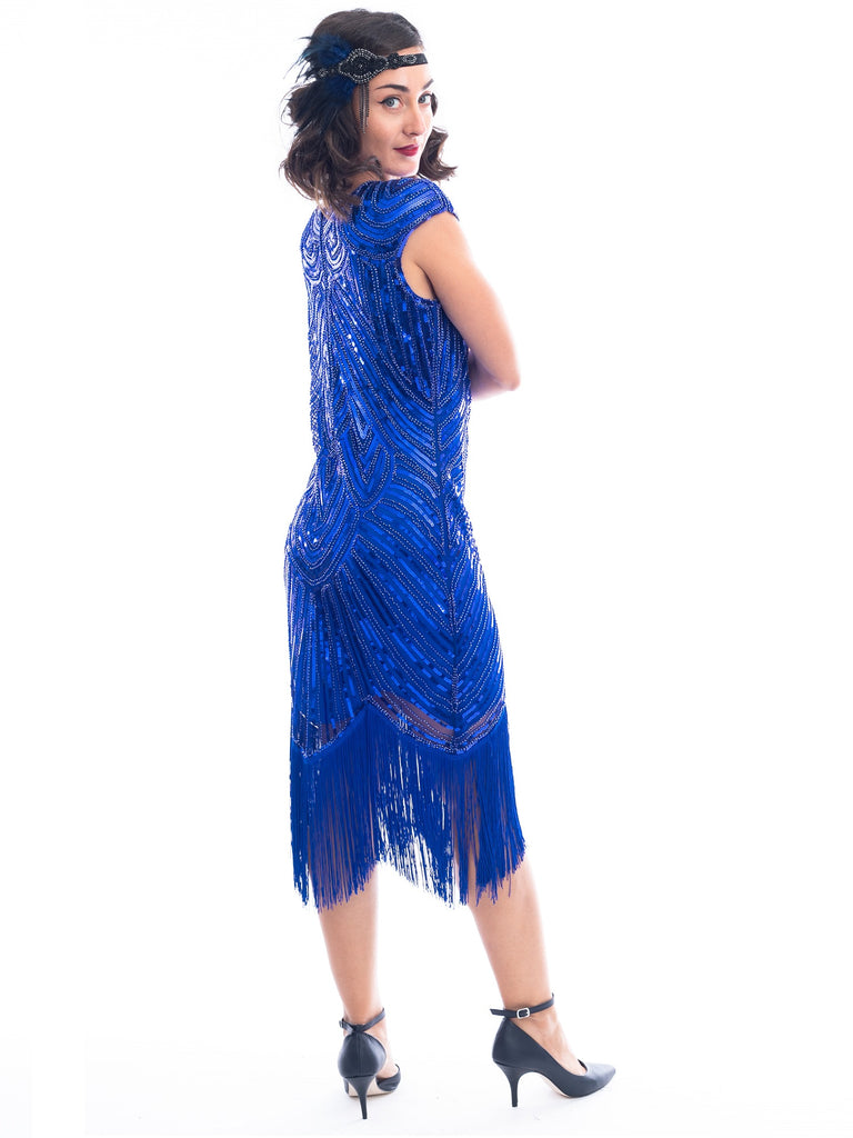 1920s Plus Size Blue Beaded Mable Flapper Dress
