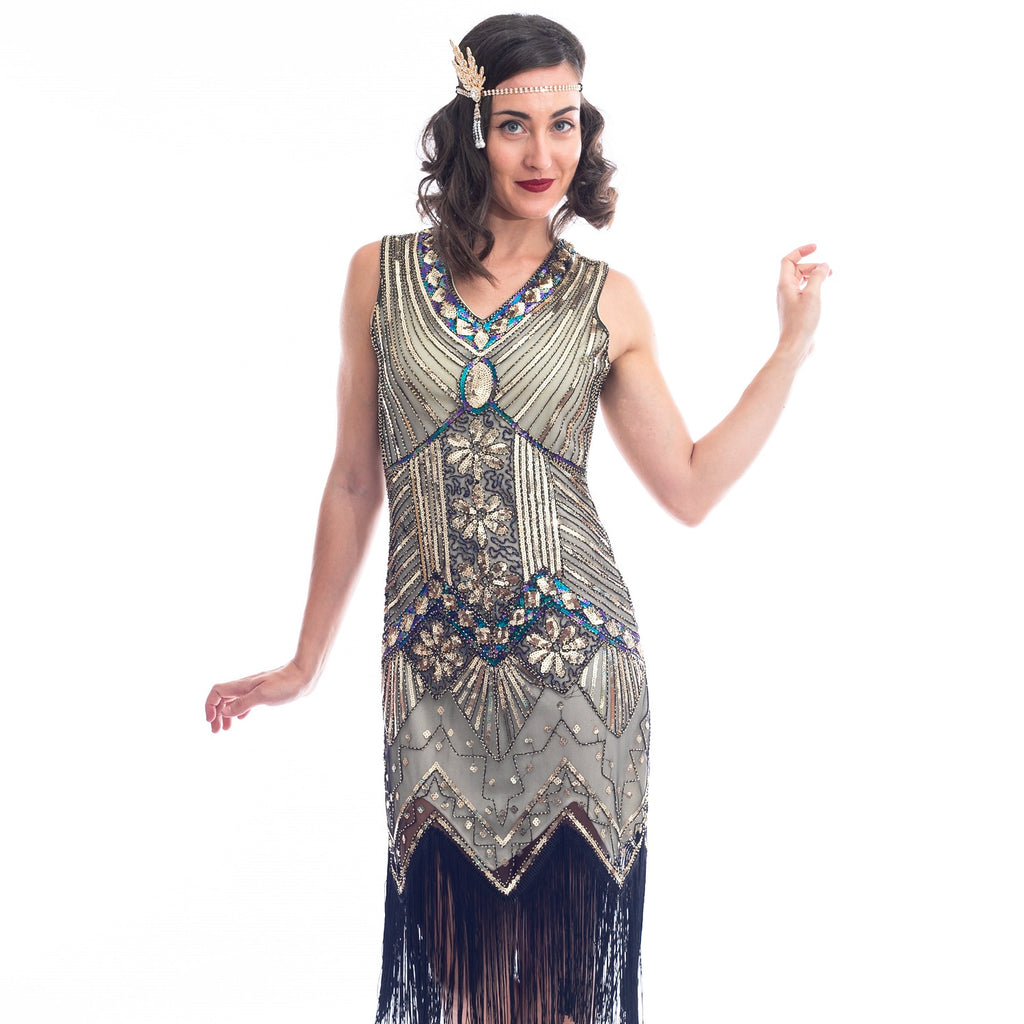 1920s Plus Size Gold Beaded Ella Flapper Dress
