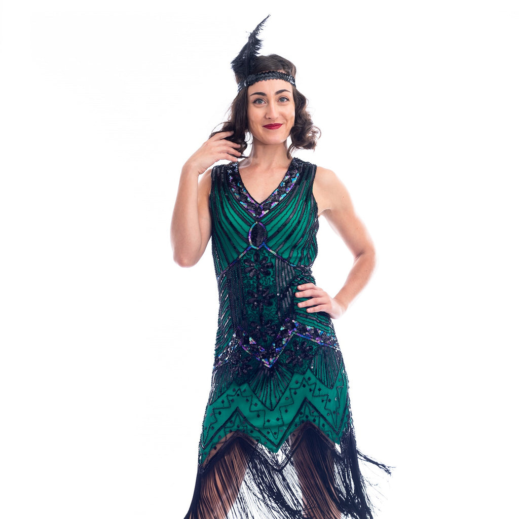 1920s Plus Size Green Beaded Ella Flapper Dress