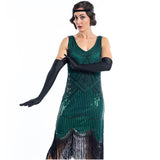 A close up view of a lady wearing a Green Flapper Dress